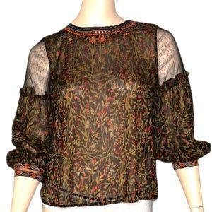 Zara Basic Sheer Blouse Embroidered Detail